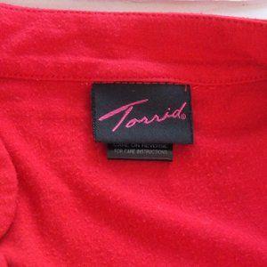 torrid Tops - TORRID RED RUCHED ZIPPER TOP SIZE 0